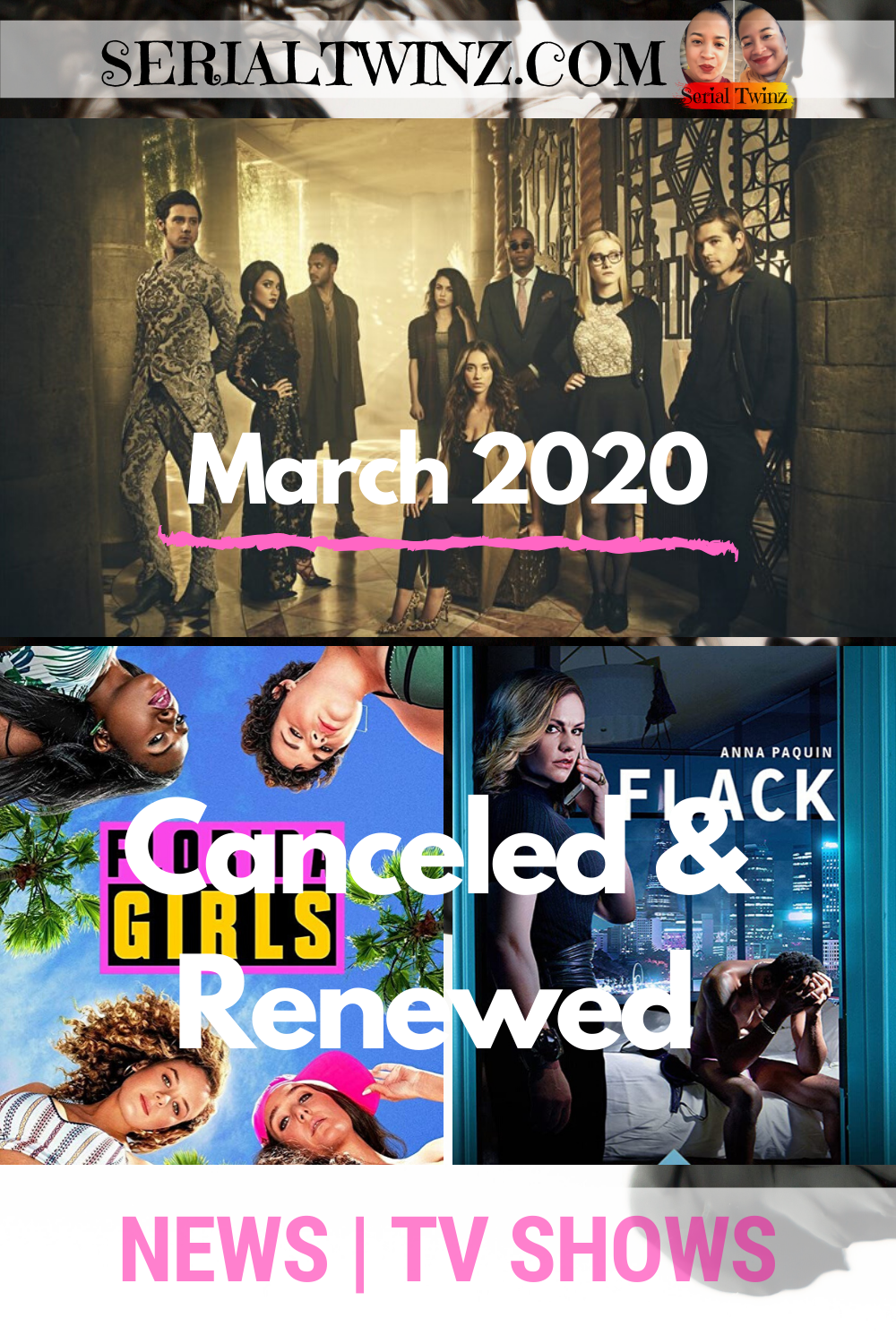 TV SHOW NEWS | Renewed and Canceled in March 2020: SerialTwinz monthly TV Series Tracker. Find out which shows are renewed and which one were canceled. For more videos and blog posts about TV shows, and other fun on TV, book and movie series, click the link in bio + Follow us | SerialTwinz.com | @Serialtwinz on social | #TVSeries #TVRenewed #TVCancelations #RenewedandCanceled #TVShows #TVNews