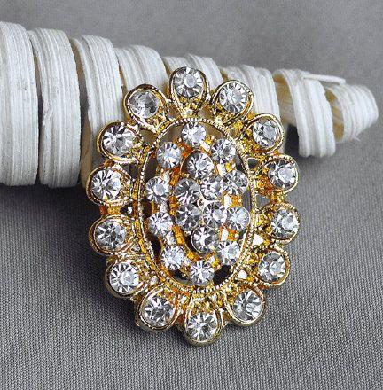 Diamante Strass Cristal Fleur Mariage Bridal Bouquet Brooch Pin gold