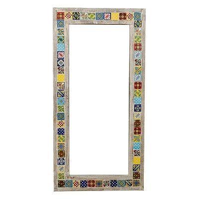 s.Home India / Spiegel Holzrahmen bunt lackiert / Dekoration