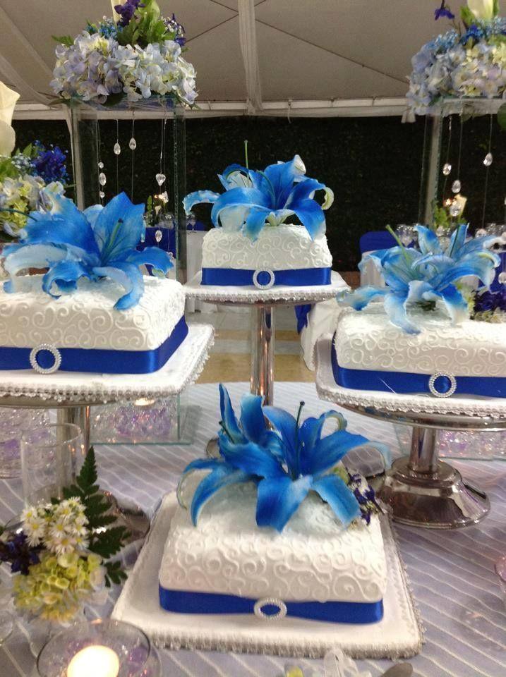 Pastel De Bodas Azul Rey