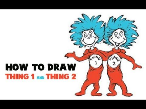 How To Draw Thing One And Thing Two From Dr Seuss The Cat In The