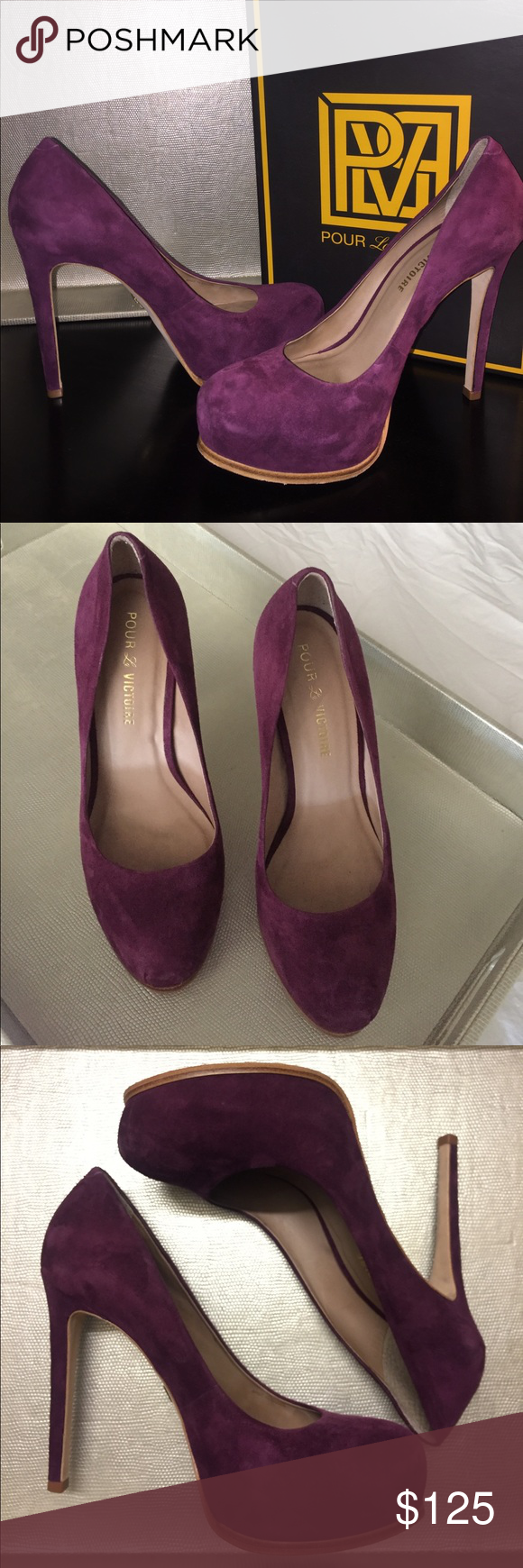 """Pour la Victoire Pumps Pour la Victoire """"Irina"""" Pumps in burgundy Kid Suede. Suede upper, with leather lining and sole. EXCELLENT condition, worn once. A concealed platform maintains the clean aesthetic of an ultra-chic pump with a skinny wrapped heel. - Approximate heel height: 4-3/4"""" with 1-1/4"""" platform (comparable to a 3 1/2"""" heel). Pour la Victoire Shoes Heels"""