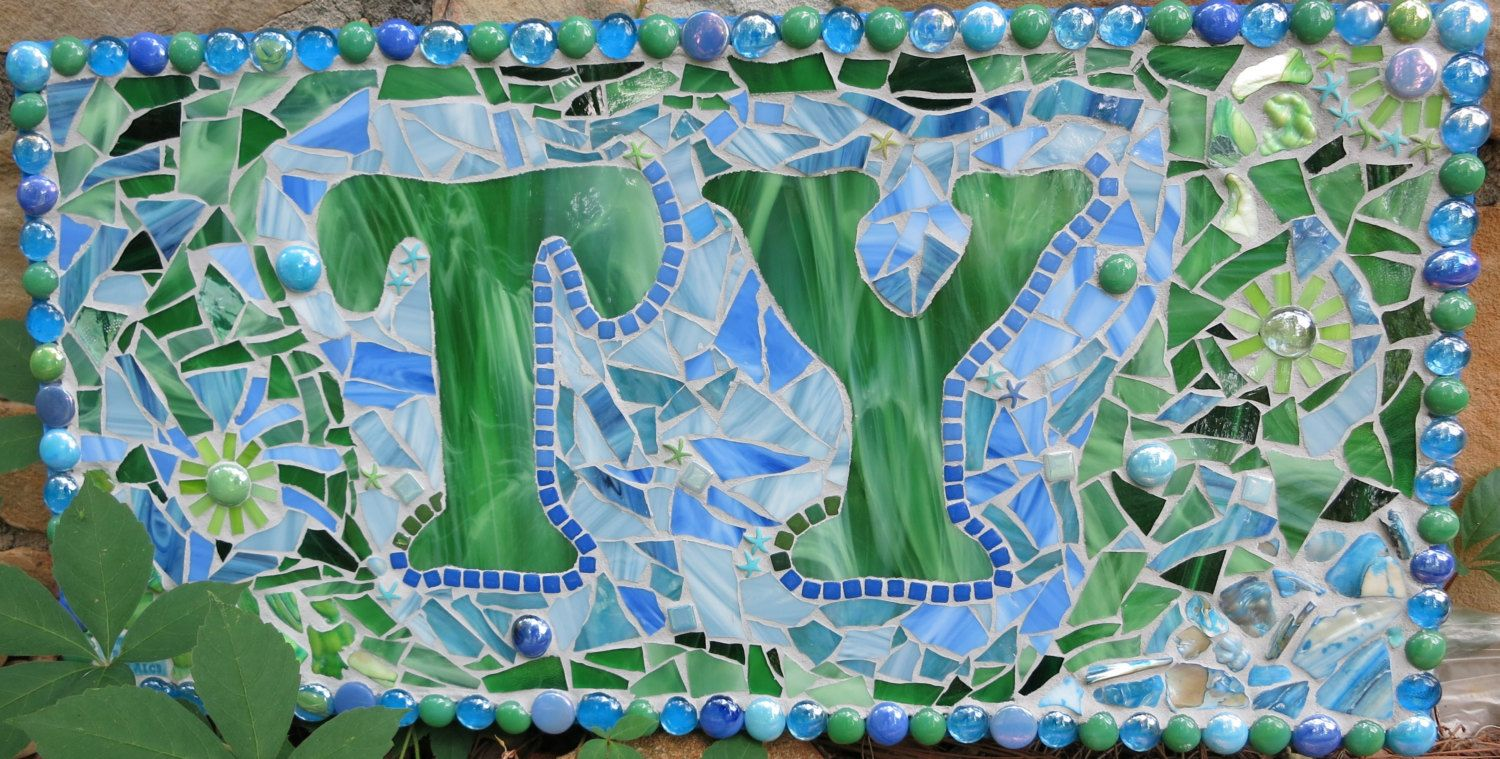 """CUSTOM Made Stained Glass Mosaic Name Signs - You Get to """"Design the Sign"""" - This One Is 12""""x24"""" - pinned by pin4etsy.com"""