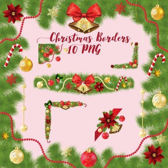 Christmas borders, xmas decor set, christmas frames, border clip art