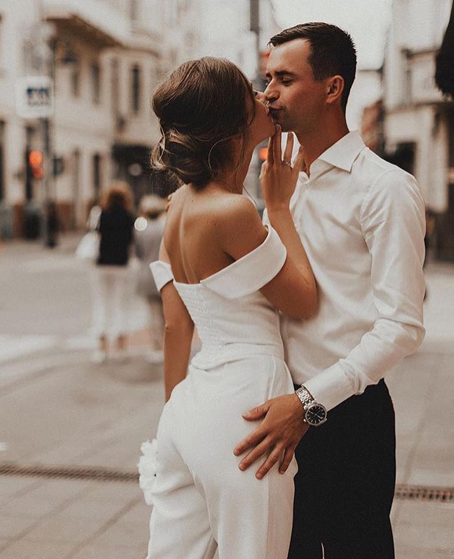 Sheath Off-the-Shoulder Jumpsuits Wedding Dress Bridal Rompers