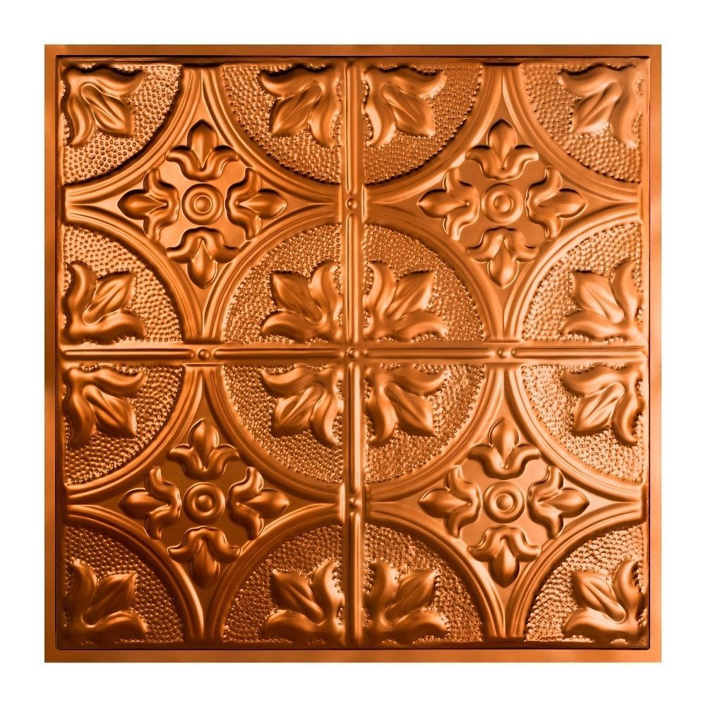 Great Lakes Tin Jamestown Copper 2 Foot X 2 Foot Lay In Ceiling Tile Carton Of 5 Sample Tin Ceiling Tiles Ceiling Tiles Tin
