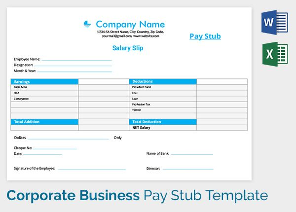 Corporate Business Salary Slip Template sophia Pinterest - paycheck stub creator free