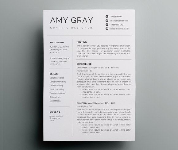 Professional resume template / CV Pinterest Professional resume