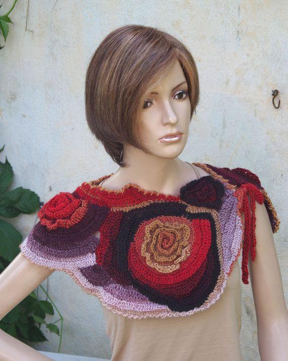 Crochet Scarf - Capelet / Neck Warmer / Freeform crochet / Women ...