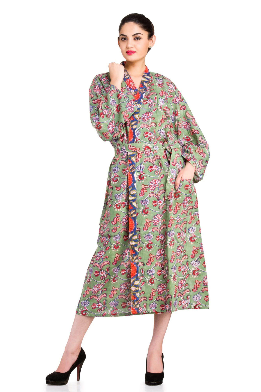 7f5aff37ab INDIAN Block Print Ethnic Cotton Bath Robe Kimono  bathrobe  kimono  gown   daygown  floral  flowers  dress  casual  indian  cotton  100%cotton   fullsleeve ...