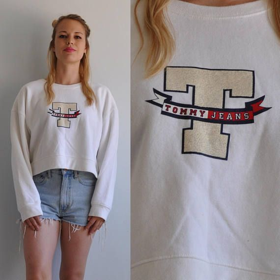 a4bb081a29c18 90s Tommy Hilfiger Crop Top T Logo Oversized Sweatshirt    Medium    Tommy  Jeans USA Made    1990s Spice Girls Polo Supreme