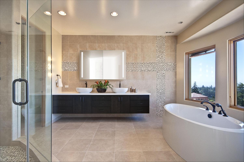 Led Medicine Cabinet 48 Inch X 30 Inch Lighted 2 Sliding Mirror Doors Defogger 3 Glass Shelves Modern Master Bathroom Modern Master Bathroom Design Contemporary Master Bathroom