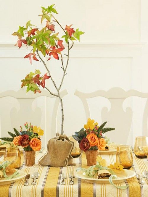 cute fall idea - branch in burlap bag table decor ideas