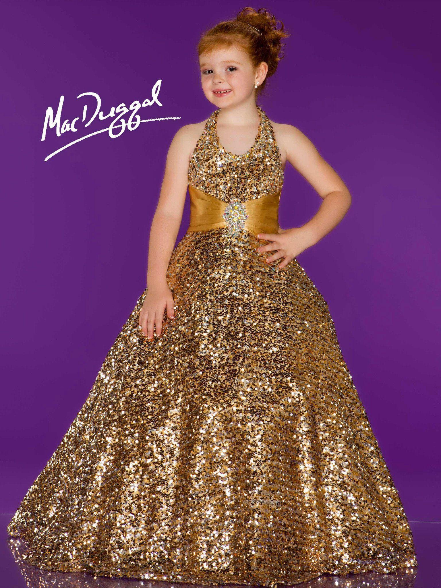 Gold Girls Pageant Formal Dress Halter Birthday Communion Flower Girl Dresses