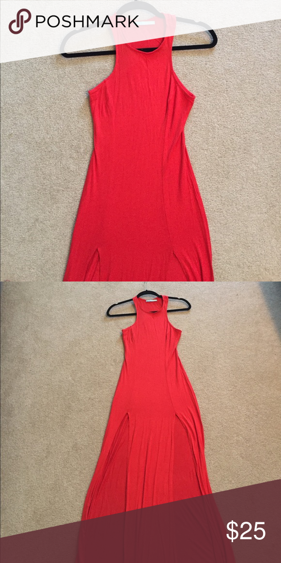 Red dress Sexy red/orange maxi dress. Has 2 side slits. Has minor stain on the side, I believe from detergent, should be able to be taken out. Lulu's Dresses Maxi