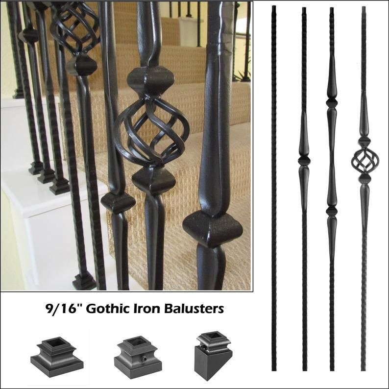 9 16 Gothic Iron Balusters Satin Black Hammered Iron Baluster