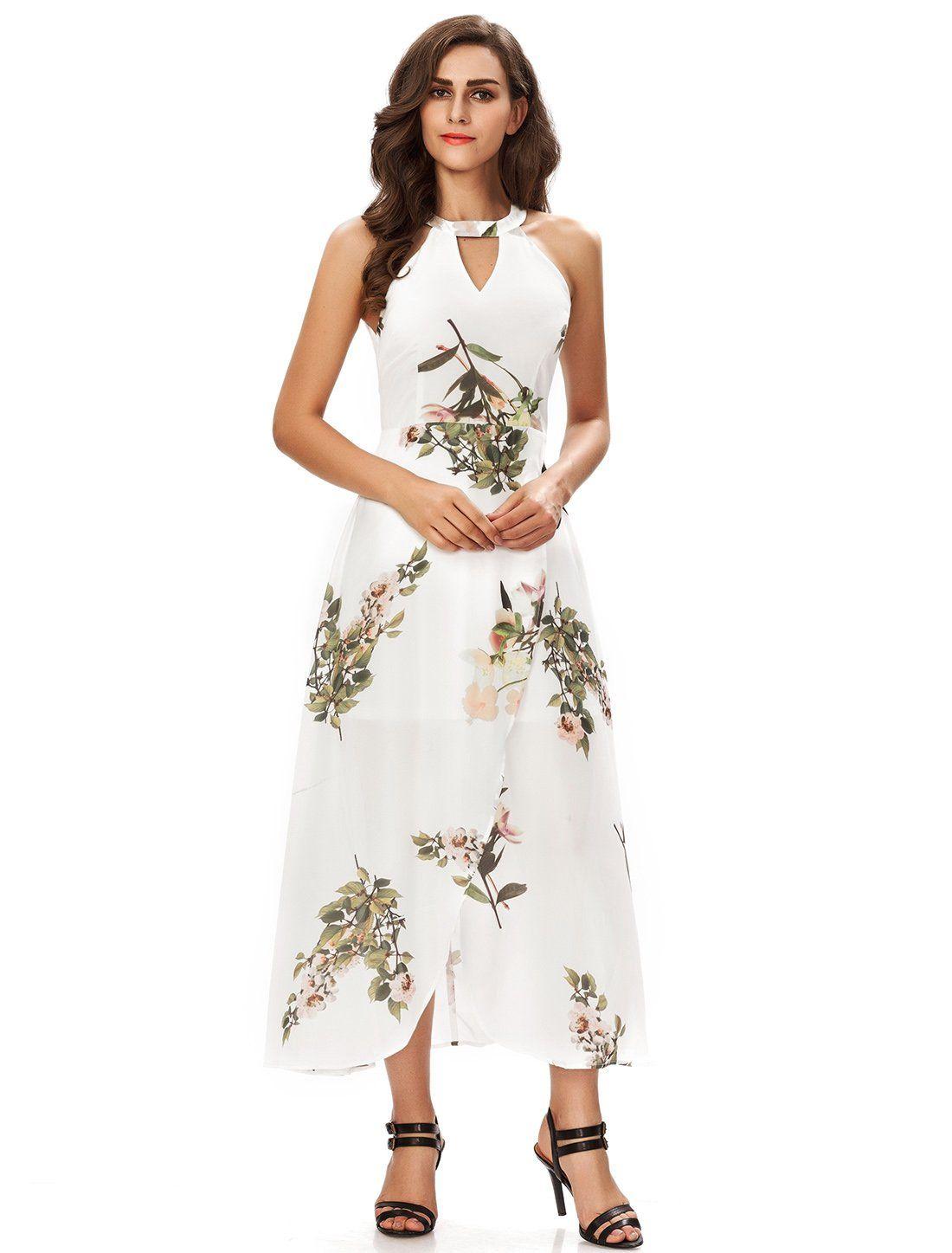 Noctflos Womens Halterneck Floral Slit Maxi Cocktail Wedding Party