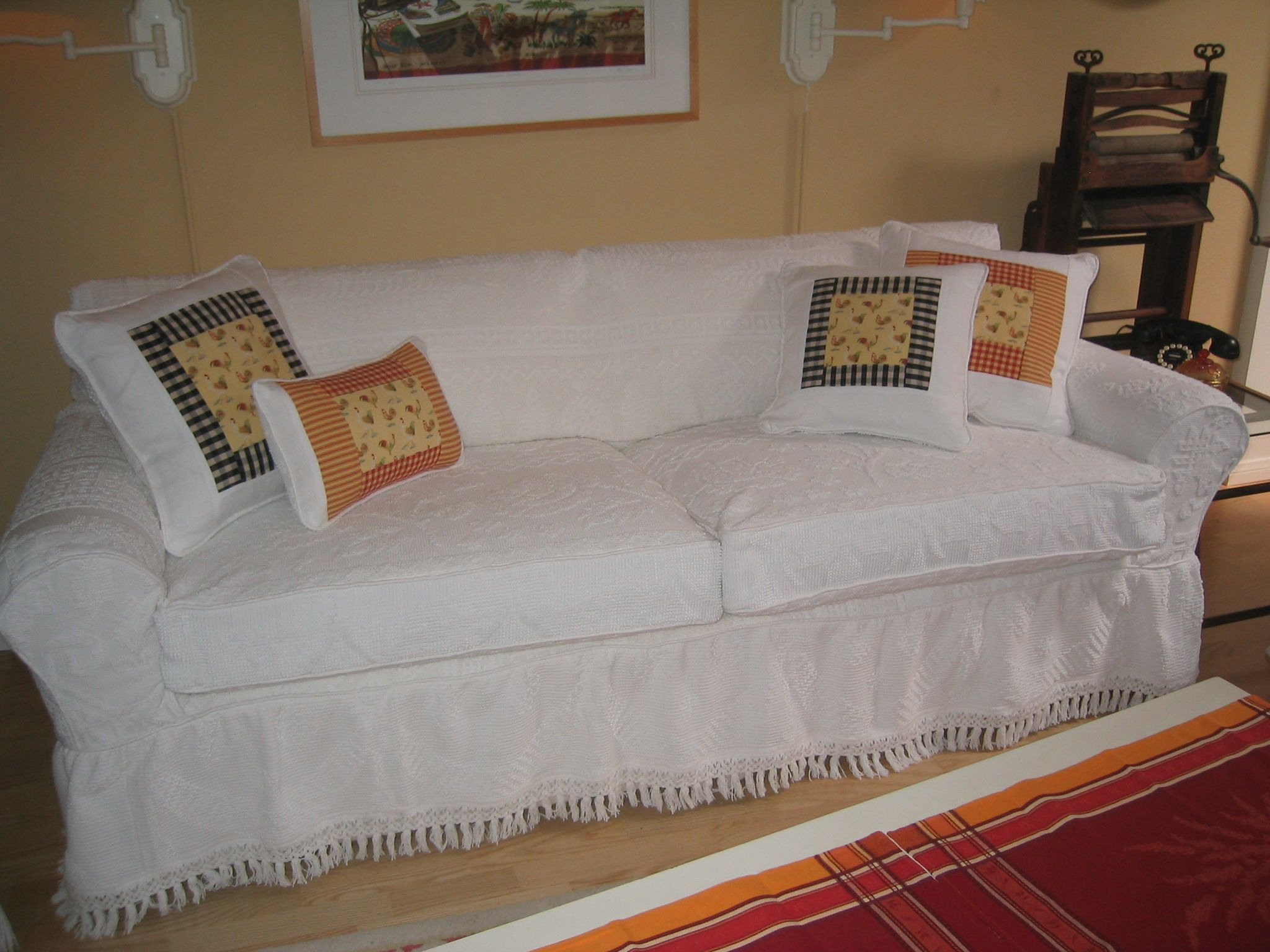 Sofa slipcover made from vintage chenille bedspreads