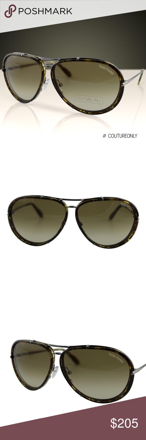 Tom Ford Cyrille FT-109 14P Olive Brown Havana Gunmetal Pilot Sunglasses 63mm