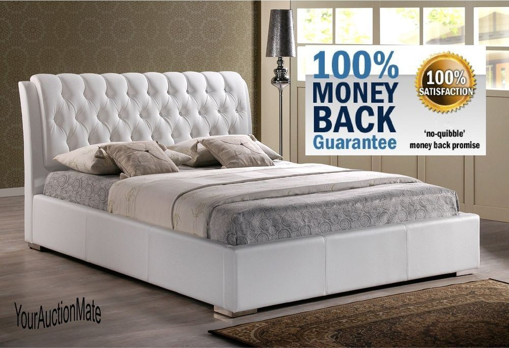 Faux Leather Tufted Headboard Platform Bed White Modern Contemporary ...
