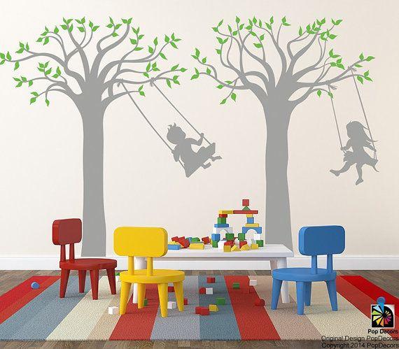 children playroom tree wall stickers school kids vinyl wall decors