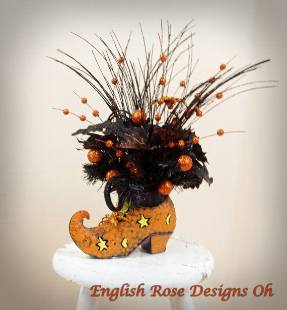 Halloween Centerpiece, Witch Boot Arrangement, Halloween Decoration - witch decorations