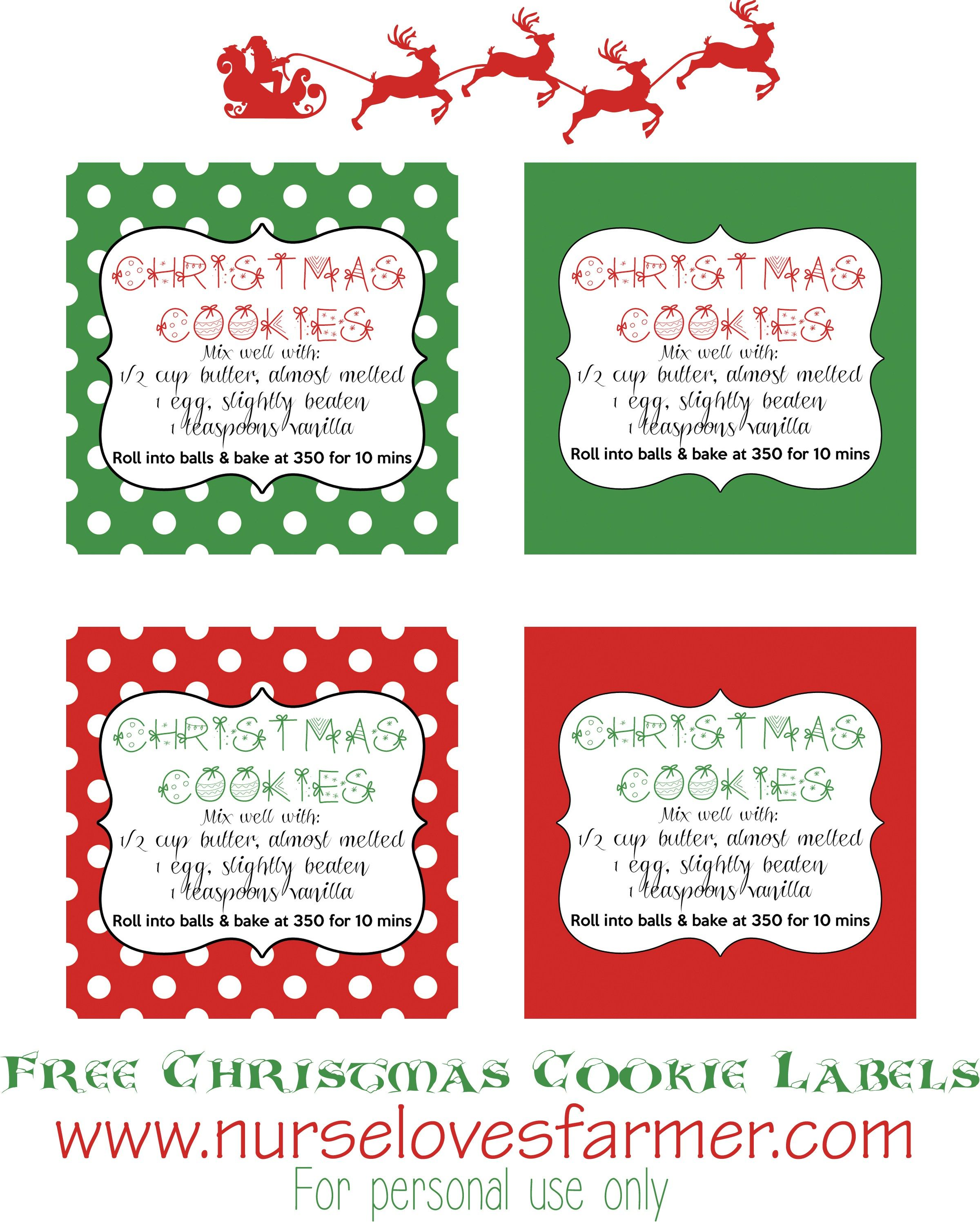 Christmas Cookies In A Jar Nurse Loves Farmer Recipe Cookie Jar Gifts Christmas Cookies Packaging Christmas Printable Labels