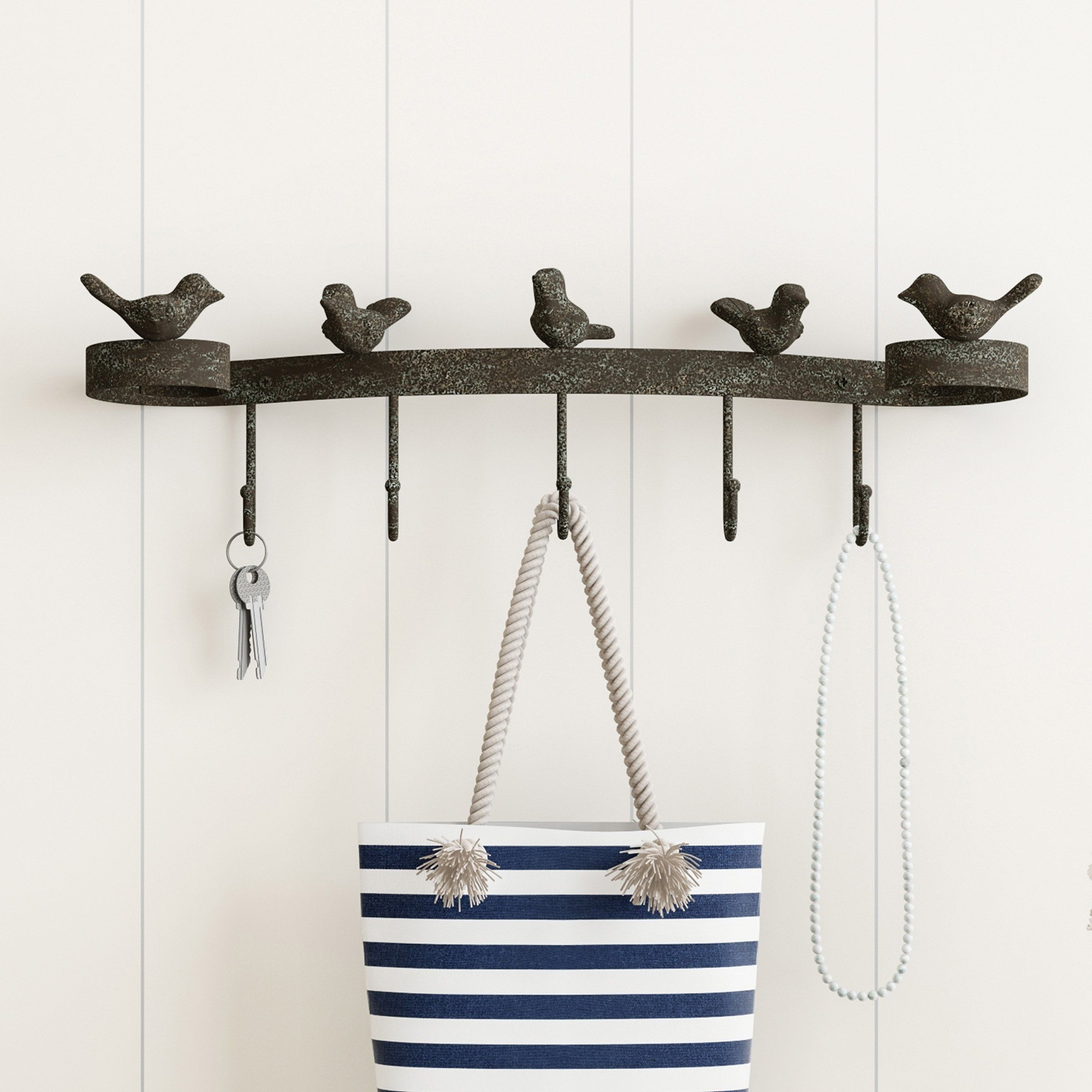 Decorative Birds on Ribbon Hook-Cast Iron Shabby Chic Rustic Wall Mount Hooks by Lavish Home, Brown images