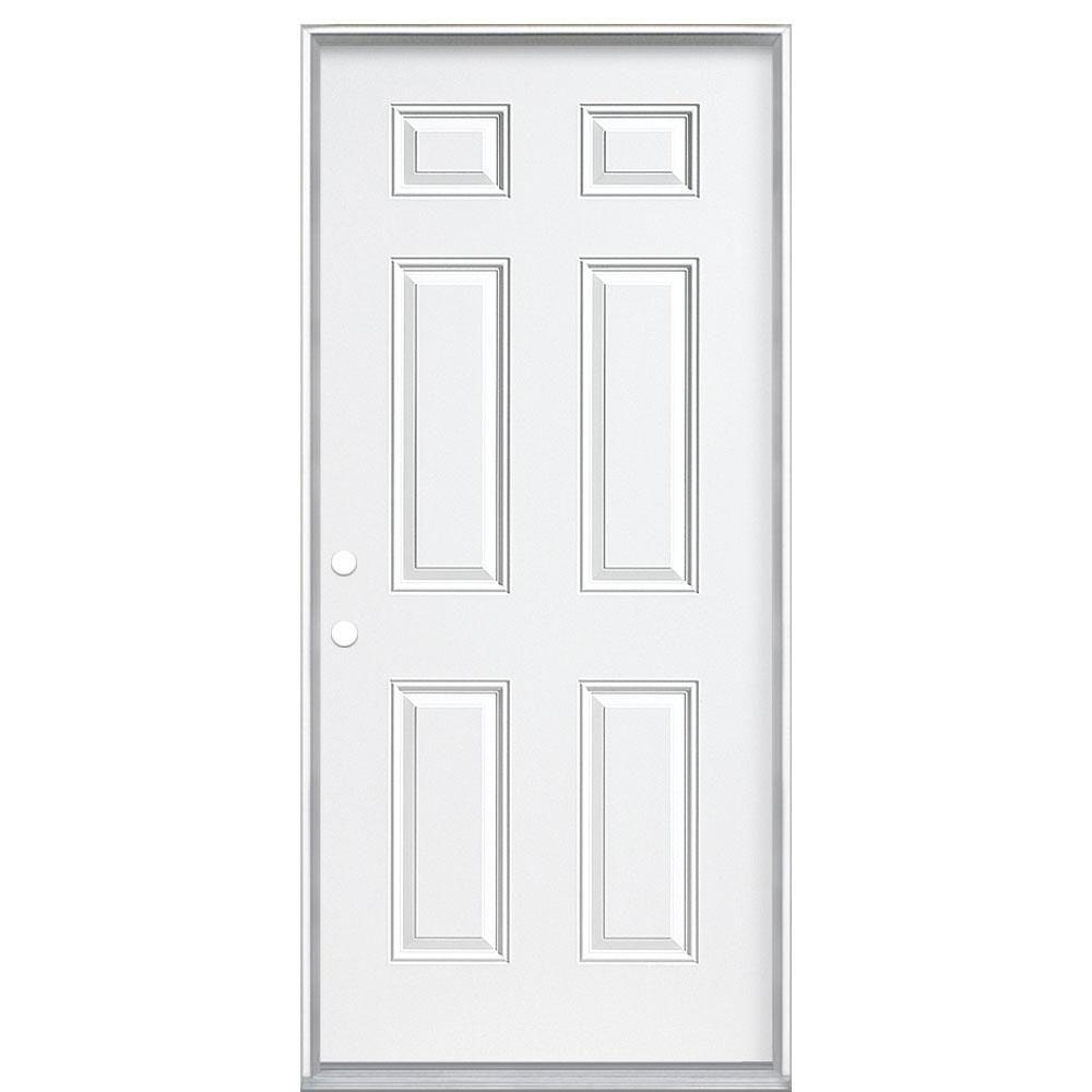 Masonite 30 In X 80 In 6 Panel Left Hand Inswing Painted Steel Prehung Front Exterior Door No Brickmold 25649 Exterior Front Doors Exterior Doors Vinyl Frames