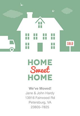 House And Birds Moving Announcement Template Free Greetings Island Moving House Card Moving Announcements House Of Cards