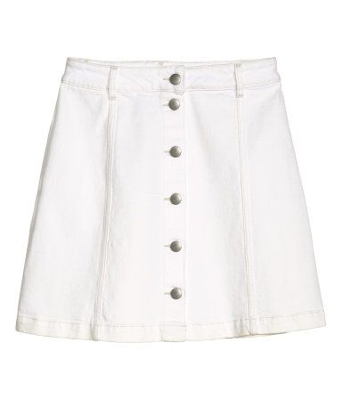 70d99555de H&M Twill Skirt $30 : Short, flared skirt in stretch cotton twill with  buttons at front. Unlined. 99% cotton, 1% spandex. Machine wash cold.  Imported.
