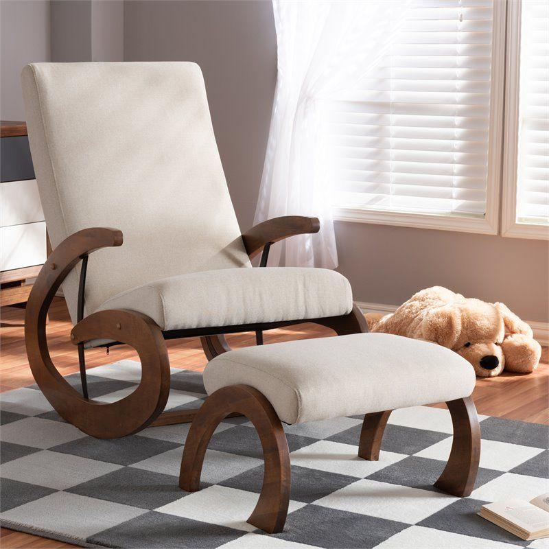 Baxton studio kaira fabric and wood rocking chair with