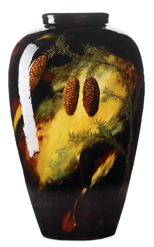 John J Herold Weller Aurelian Floor Vase With Pine Boughs