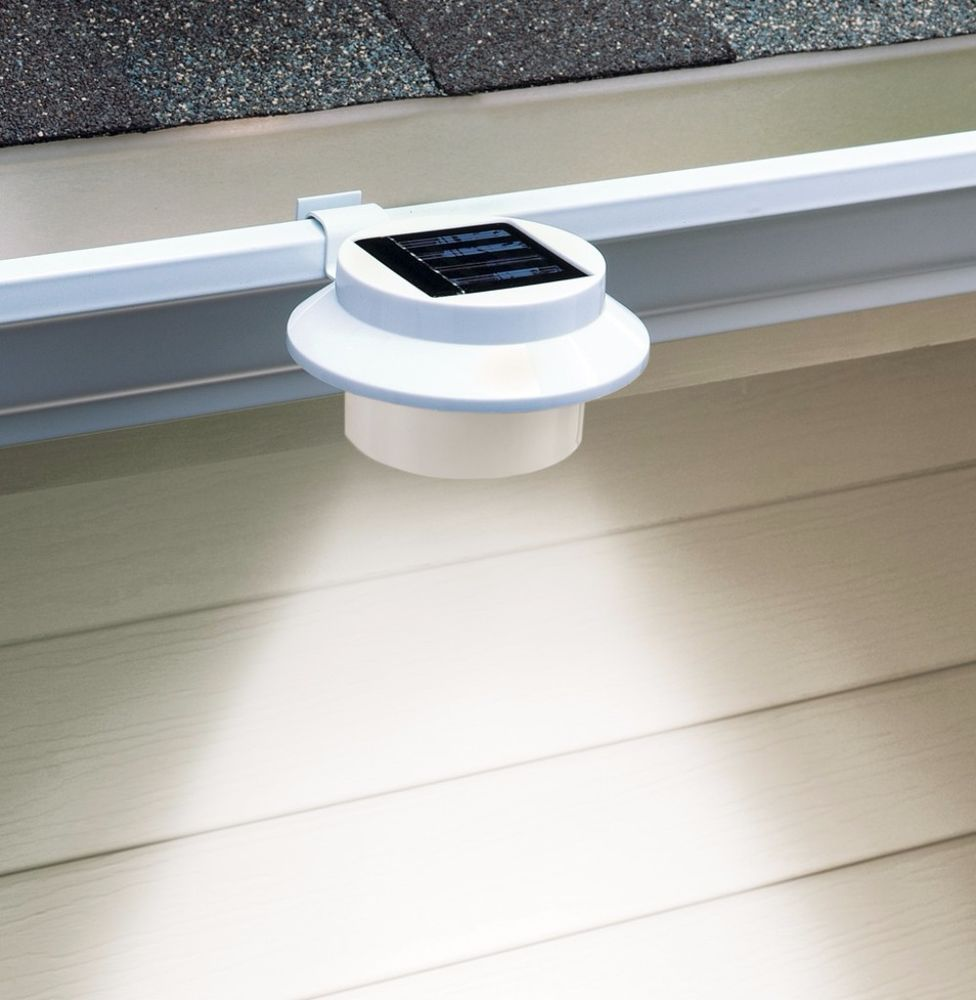 White Clip On Gutter Built In Solar Security 3 Bright Leds Weather Resistant Ledlights White Clip Hinterhofbeleuchtung Terrassenbeleuchtung Aussenbeleuchtung