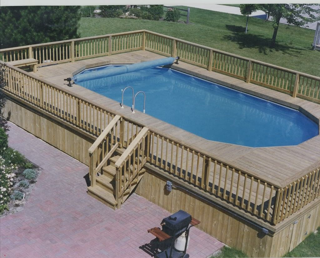 Awesome ground pool decks plans ideas http for Simple backyard pools