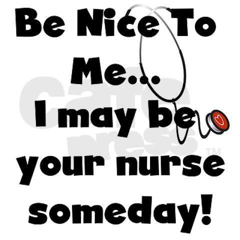 Be Nice to Me I May Be Your Nurse Someday Black PLASTIC  License Plate Frame
