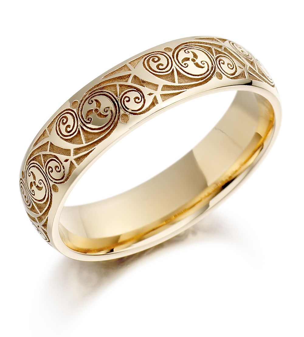 Wedding Ring – Mens Gold Celtic Spiral Triskel Irish Wedding