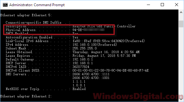How to find MAC address on Windows 10 laptop with or