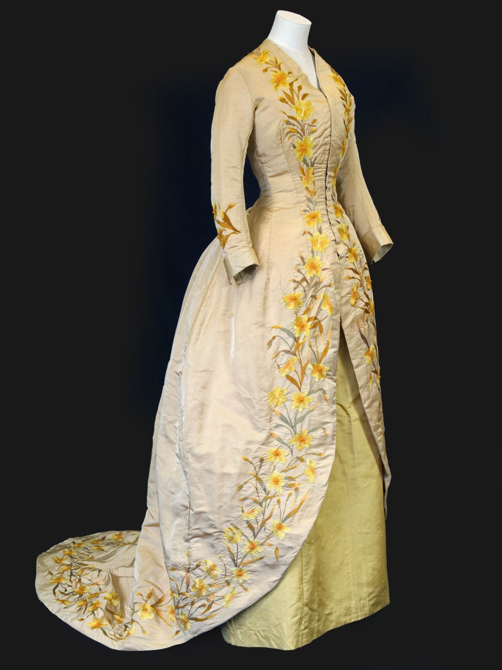 Daffodil dress and underskirt embroidered by henriette leonard c