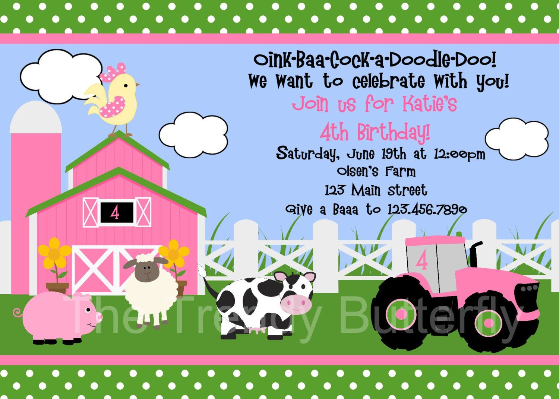 Farm Birthday Invitation Farm Animals Birthday Party Invitation Pink ...