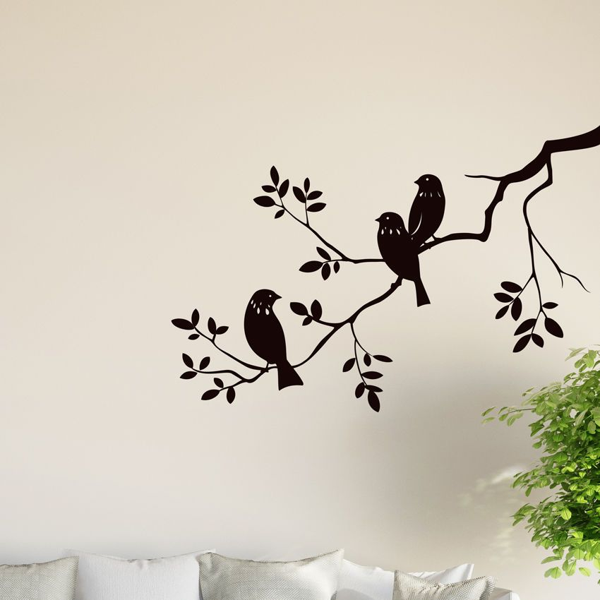 Birds On Tree Branch Wall Vinyl Sticker Decal Livingroom Children