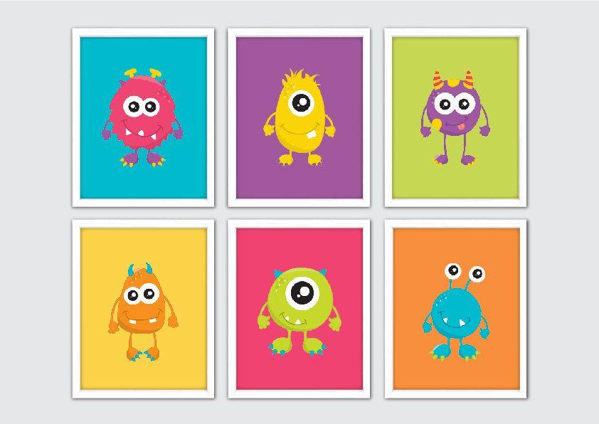 Monsters Nursery Art, Baby Boy Nursery Print, Monster Wall Art Print, Kids Wall Art, Boy Nursery Print, Personalised Baby Nursery Decor by RomeCreations on Etsy