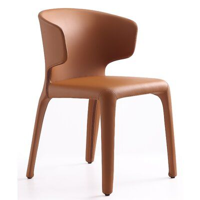 Corrigan Studio Brownfield Genuine Leather Upholstered Dining Chair Upholstery Color Saddle Dining Chairs Upholstered Dining Chairs Modern Dining Side Chairs