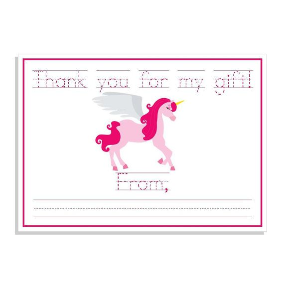 Printable Unicorn Thank You Note Fill In The Blank Unicorn Thank