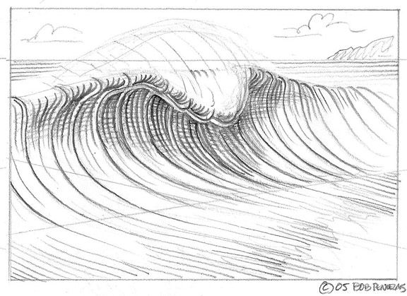 Line Drawing Waves : Wave drawing on pinterest heart drawings paintings
