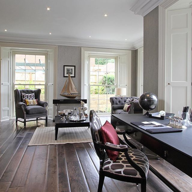 Rustic Homeoffice Design: Floor To Ceiling Sliding Sash Windows Are Always A Great