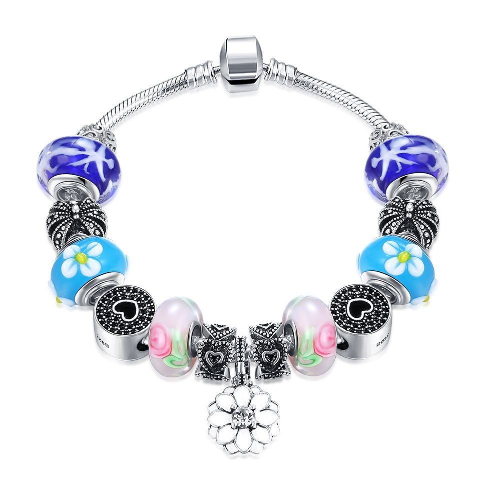 Flower charm bracelet women heart crown beads bracelets bangles for