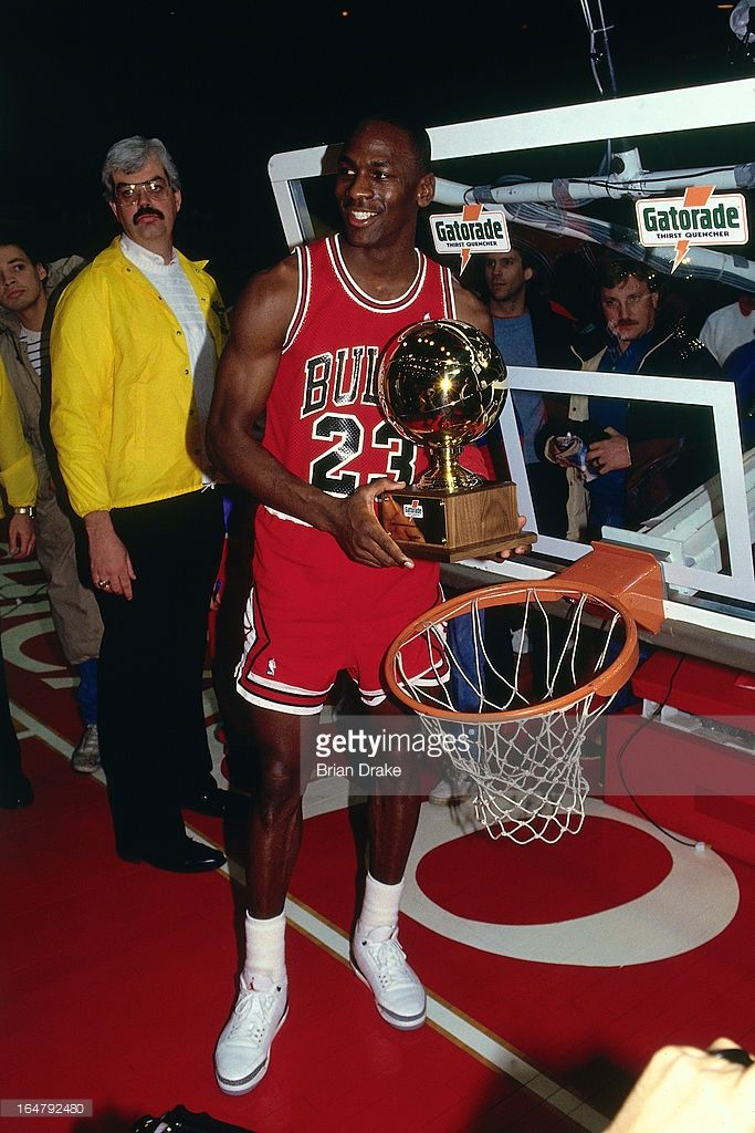 65a64b477dab41 Michael Jordan  23 of the Chicago Bulls poses after winning the 1988 Slam  Dunk Contest on February 6
