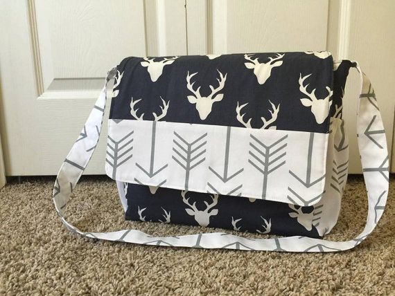 Navy Blue Deer And White Grey Arrow Diaper Bag By Sewsweeterbaby