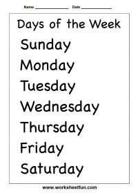 Days of the Week - 2 Worksheets | Free printable ...